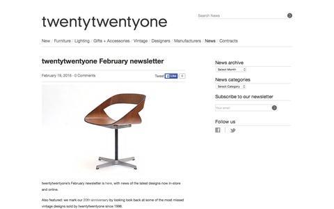 Screenshot of twentytwentyone.com - twentytwentyone — twentytwentyone February newsletter - captured March 20, 2016