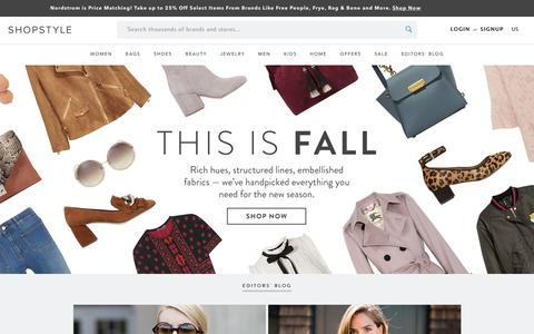 Screenshot of Home Page shopstyle.com - ShopStyle: Search and find the latest in fashion - captured Oct. 10, 2016