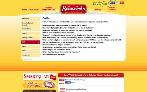 Screenshot of FAQ Page schwebels.com - Frequently Asked Questions - Schwebel's Freshly Baked Breads - captured Oct. 3, 2014