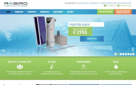 Screenshot of Home Page ragiro.be - Zonneboiler, zonnepanelen, condensatieketel of warmtepompboiler - captured Oct. 7, 2014
