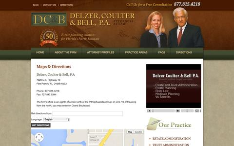 Screenshot of Maps & Directions Page delzercoulter.com - Find a Florida Estate Planning & Administration Law Firm | Delzer, Coulter & Bell, P.A. in Port Richey | Delzer, Coulter & Bell, P.A. - captured Oct. 5, 2014