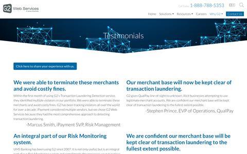 Screenshot of Testimonials Page g2webservices.com - Testimonials - Verisk Financial | G2 - captured Feb. 22, 2019