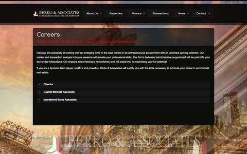 Screenshot of Jobs Page berkoassociates.com - Careers | Berko Associates | Investment Sales – Finance – Advisory - captured Sept. 30, 2014