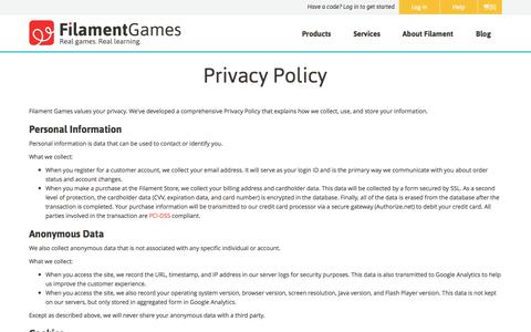 Screenshot of Privacy Page filamentgames.com - Privacy Policy | Filament Games - captured Oct. 29, 2014