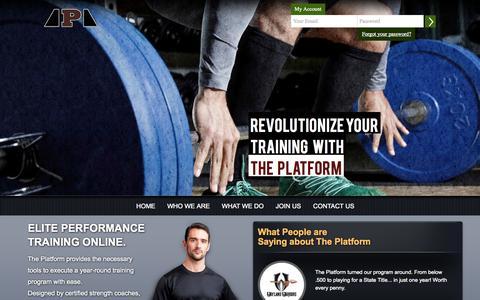 Screenshot of Home Page platformathletics.com - Platform Athletics - captured Sept. 30, 2014