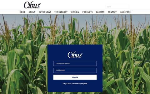 Screenshot of Login Page cibus.com - Cibus Investor Relations Login - captured July 30, 2017