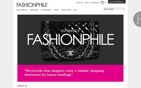 Screenshot of About Page fashionphile.com - Pre Owned / Used Designer Handbags / Bags - About FASHIONPHILE - captured Sept. 23, 2014