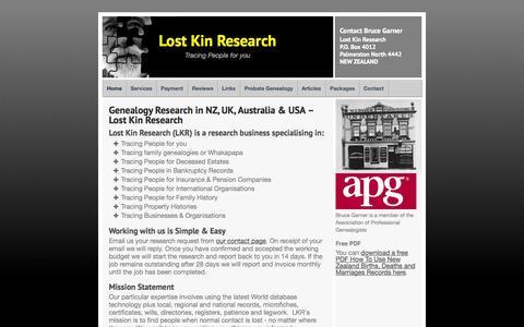 Screenshot of Home Page lostkin.co.nz - Probate Genealogy Research in NZ, UK & Australia – Lost Kin Ltd - captured Oct. 3, 2014