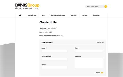Screenshot of Contact Page banksgroup.co.uk - Contact us | Banks Developments - captured Oct. 5, 2014