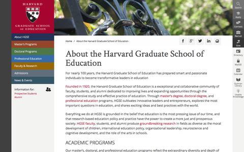 Screenshot of About Page harvard.edu - About the Harvard Graduate School of Education | Harvard Graduate School of Education - captured Sept. 13, 2014