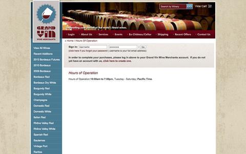 Screenshot of Hours Page grandvinwinemerchants.com - Grand Vin Wine Merchants : Hours Of Operation - captured Oct. 3, 2014