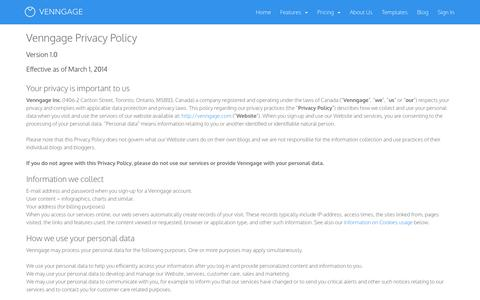 Screenshot of Privacy Page venngage.com - Venngage | Privacy Policy - captured Dec. 16, 2014