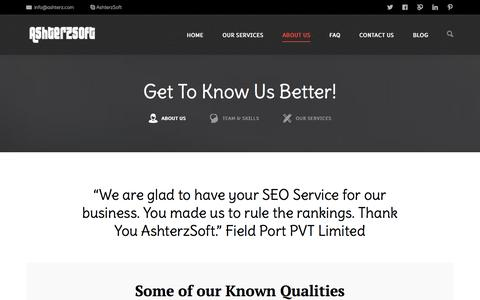 Screenshot of About Page ashterz.com - About AshterzSoft, The Best Internet Marketing Company - captured Nov. 2, 2014