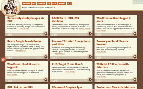 Screenshot of Home Page wp-mix.com - WP-Mix | A fresh mix of code snippets and tutorials - captured Sept. 19, 2014