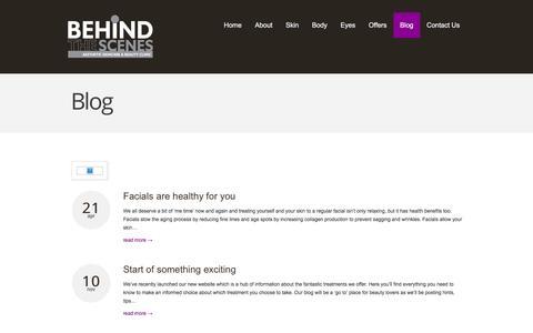 Screenshot of Blog behindthescenes.biz - Blog  |  Behind The Scenes | Ponteland's Premier Aesthetic & Beauty Clinic - captured Dec. 31, 2015