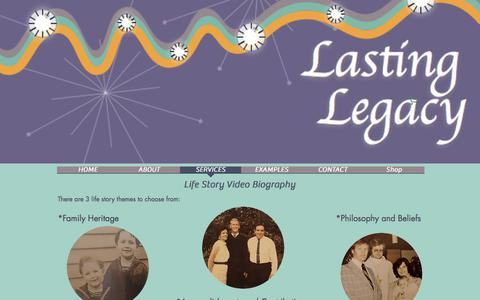 Screenshot of Services Page lastinglegacyvideo.com - Life Story Video Biography Services - captured July 15, 2017