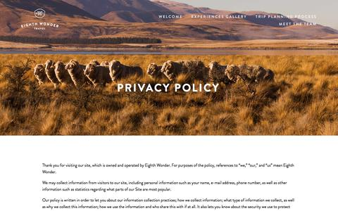 Screenshot of Privacy Page eighthwonder.travel - Privacy Policy — Eighth Wonder Travel - captured July 19, 2017