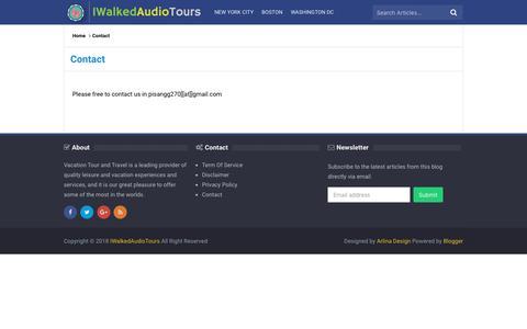 Screenshot of Contact Page iwalkedaudiotours.com - Contact - IWalkedAudioTours - captured Nov. 28, 2018