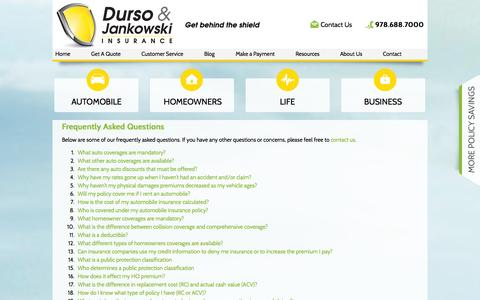 Screenshot of FAQ Page dursojankowski.com - Frequently Asked Questions - Durso & Jankowski - captured Oct. 5, 2014