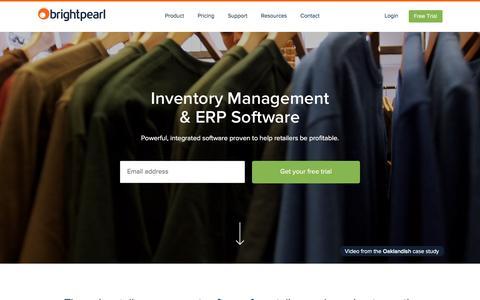 Screenshot of Home Page brightpearl.com - Inventory Management & ERP Software | Brightpearl - captured Jan. 28, 2016
