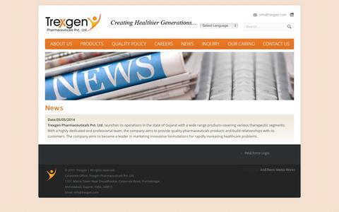 Screenshot of Press Page trexgen.com - News - Trexgen Pharmaceuticals Pvt. Ltd. - captured Oct. 7, 2014