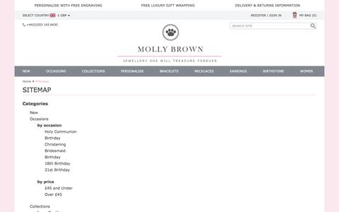 Screenshot of Site Map Page mollybrownlondon.com - Children's Jewellery, Girls Jewellery, Christening Gifts, Bridesmaid, Birthday and Holy Communion Gifts for Girls - captured Feb. 14, 2016