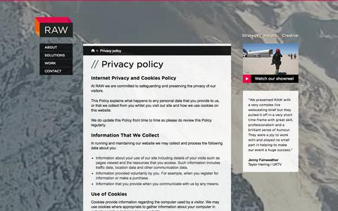 Screenshot of Privacy Page rawproductions.tv - Privacy policy | Video Production Agency London | RAW Productions - captured Oct. 26, 2014