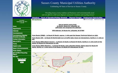 Screenshot of Maps & Directions Page scmua.org - Directions - Sussex County MUA - captured Sept. 30, 2014