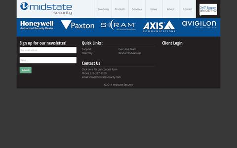 Screenshot of Services Page midstatesecurity.com - Midstate Security - captured Oct. 27, 2014