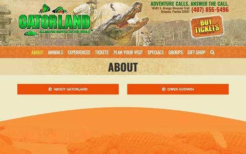 Screenshot of About Page gatorland.com - About - Gatorland - captured Oct. 1, 2018