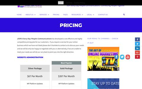 Screenshot of Pricing Page edpcommunications.com - Pricing - (EDP) Every Day People Communications - captured Dec. 20, 2018