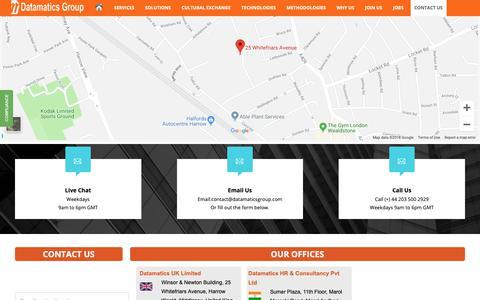 Screenshot of Contact Page datamaticsgroup.com - Contact Us - captured Oct. 7, 2018