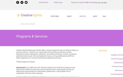 Screenshot of Services Page creativespiritsonline.com - Mental Health Services | Creative Spirits Behavioral Health | SERVICES - captured Sept. 9, 2017