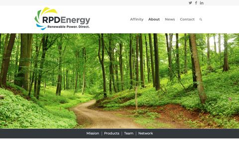 Screenshot of About Page rpdenergy.com - RPD Energy's mission is to make real green energy widely available - captured Oct. 21, 2018
