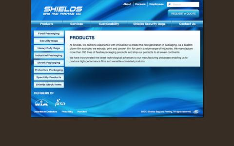 Screenshot of Products Page shieldsbag.com - Products - captured Oct. 26, 2014
