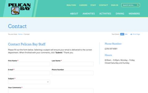 Screenshot of Contact Page pelicanbay.org - Contact - PelicanBay.org - captured Oct. 23, 2017