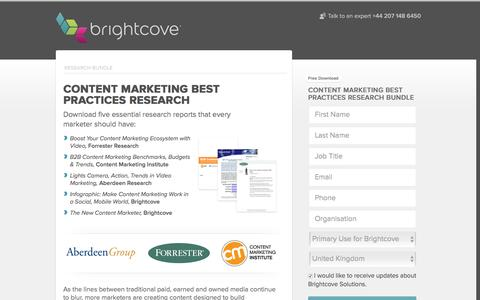 Screenshot of Landing Page brightcove.com - Brightcove | Content Marketing Best Practices Research - captured Feb. 17, 2016