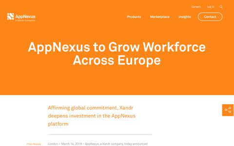 Screenshot of FAQ Page appnexus.com - AppNexus to Grow Workforce Across Europe | AppNexus - captured Nov. 18, 2019