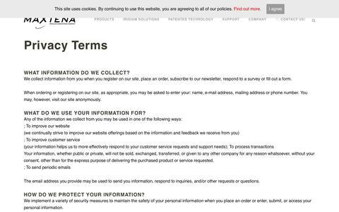 Screenshot of Privacy Page maxtena.com - Privacy Terms - Maxtena Inc. - captured Aug. 10, 2017