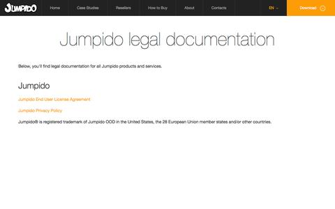 Screenshot of Terms Page jumpido.com - Jumpido legal documentation | Jumpido: Educational games for Kinect - captured Sept. 16, 2014