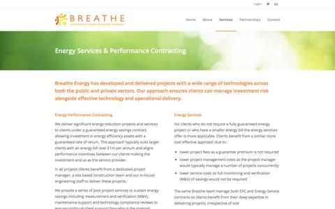 Screenshot of Services Page breatheenergy.com - Breathe Energy |   Services - captured July 30, 2016