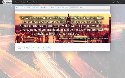 Screenshot of Testimonials Page slipcase.com - Testimonials - Slipcase - captured Oct. 7, 2014