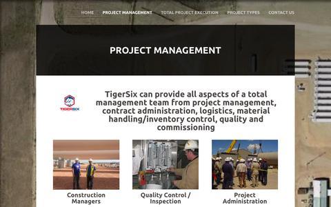 Screenshot of Services Page Team Page tiger-six.com - projectmanagement - TigerSix Corporation - captured Jan. 12, 2016