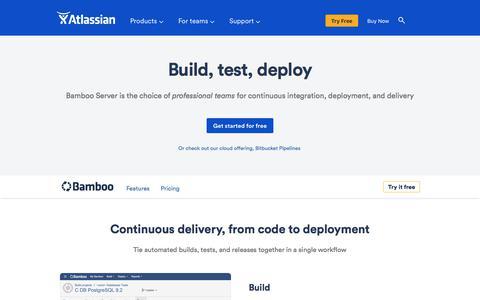 Screenshot of atlassian.com - Bamboo - Continuous integration, deployment & release management | Atlassian - captured June 7, 2017