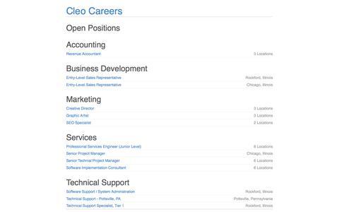 Screenshot of Jobs Page jobvite.com - Cleo Careers - captured Jan. 20, 2018