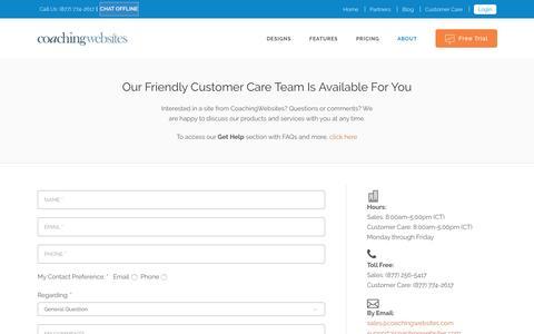 Screenshot of Contact Page coachingwebsites.com - Contact | CoachingWebsites - captured Sept. 3, 2016