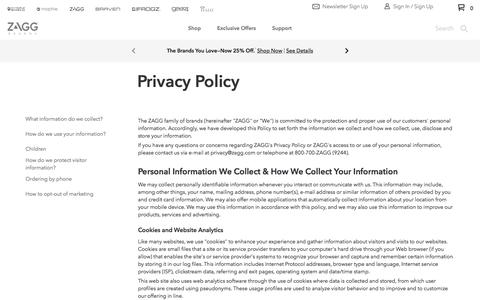 Screenshot of Privacy Page zagg.com - Legal - Privacy Policy - US - captured Aug. 30, 2019