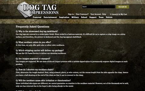 Screenshot of FAQ Page dogtagimpressions.com - FAQ - captured Sept. 30, 2014