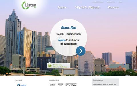 Screenshot of Home Page listen360.com - Listen360 Customer Feedback System | The Power of Listening - captured Oct. 2, 2014