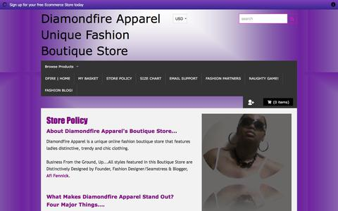 Screenshot of Terms Page shopdiamondfireapparel.com - Diamondfire Apparel | Store Policy - captured Jan. 15, 2016